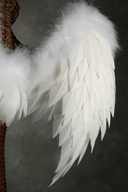 "Handcrafted 32"" Marabou & Turkey White Feather Wings"