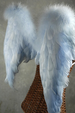 Handcrafted 28x23 Light Blue Feather Angel Wings