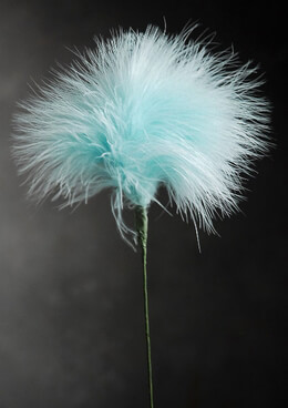 "Feathers Aqua Blue Marabou Powder Puff Feathers on 20"" Wire Stem"