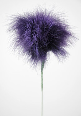 "Feathers Purple Marabou Powder Puff Feathers on 20"" Wire Stem"
