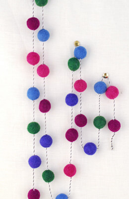 Wool Felted Ball Garlands Jewel Tones 5ft