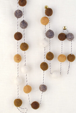 Wool Felted Ball Garland Neutral Colors 5ft