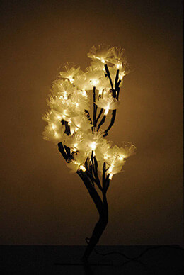 Fiber Optic Tree with Flowers Battery Operated 19in