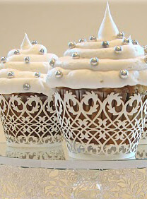 Filigree Cupcake Wrappers White | Pack of 50