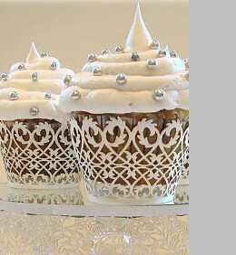 Filigree Cupcake Wrappers White   Pack of 50