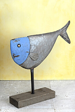 Folk Art Metal Fish Sculpture on Wood Stand