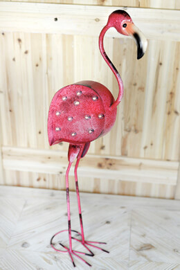 "Pink Flamingo Metal Marquee LED Statue  Battery Operated 30"" Tall"