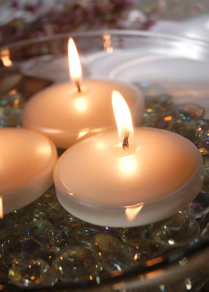 """Pearl White Floating Candles 3"""" (6 Candles)"""