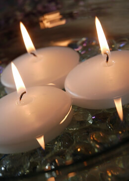 White Floating Candles 2.8in (Set of 3)