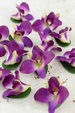 12 Floating Purple Orchid Flowers
