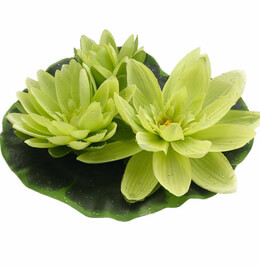 """Floating Lily Flowers Large Green 9"""""""