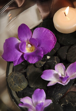 6 Floating Purple Orchid Flowers   Natural Touch