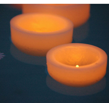 "Floating Reusable wax luminaries 4"" Ivory"