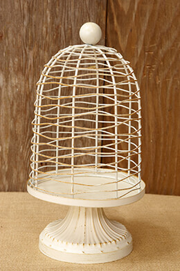 Floral Birdcage Ivory 12-3/8in