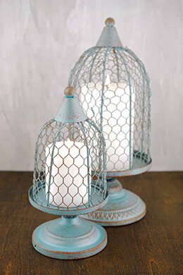 Floral Birdcage Slate Blue (Set of 2)