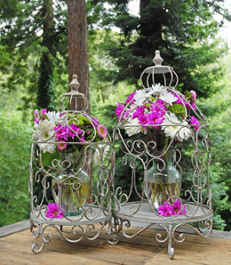 Floral Birdcage White 23 & 27in (Set of 2)