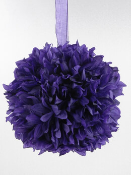 "Purple 8"" Silk Flower Ball, Ribbon Loop"