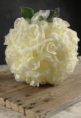 Flower Balls Cream Silk Roses 8in