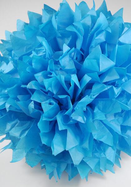 """4-20"""" Tissue Paper Pom Poms Turquoise Blue"""