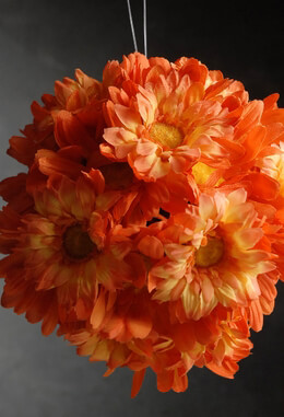 Gerbera Daisy Silk Flower Ball   7in