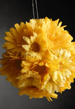 Yellow Gerbera Daisy Silk Flower Ball  7in
