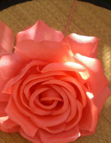 "Flower Couture Vintage 5"" Orange Silk Tea Rose"