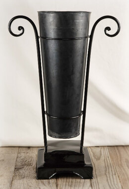 "Flower Market 17"" Black Bucket with Black Metal Stand"
