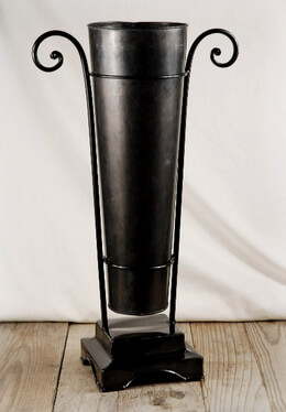 "20"" Black Metal Flower Bucket with Stand"