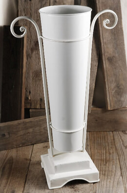 "20"" White Flower Market Bucket with Stand"