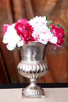 Flower Vase Metal Silver 11.25in