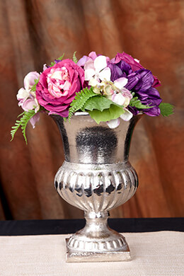 Silver Metal Trophy Urn Flower Vase  8.25in