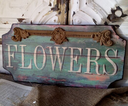 """Flowers"" Sign Wood 17in"