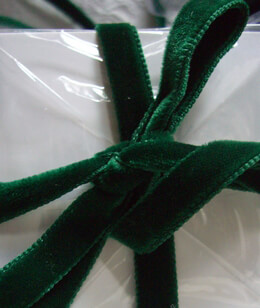 "Forest Green Italian Velvet Double Faced Ribbon 3/8"" width 11.5 feet"