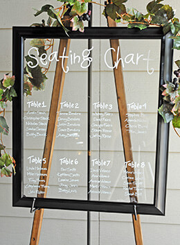 "Large Black Framed Glass Sign 20"" x 24"" For Seating Chart"