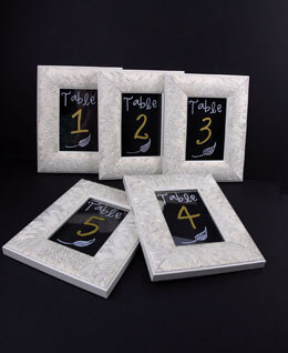 "Framed Glass for Table Numbers Cream and Gold 4"" x 6"" (Set of 5)"