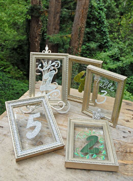 "Framed Glass for Table Numbers Platinum 4"" x 6"" (Set of 5)"