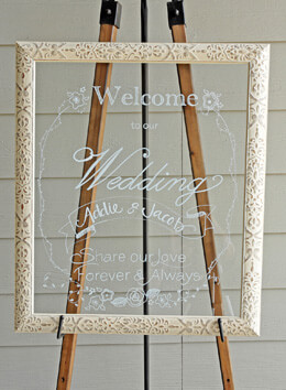 "Extra Large Ivory Framed Glass  20"" x 24"""