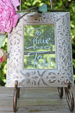 "Framed Glass for Table Numbers Ivory Tribal 4"" x 6"""