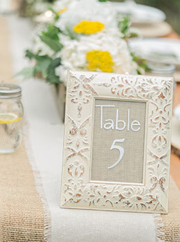 "Embossed White Wood Framed Glass for Table Numbers 4"" x 6"""