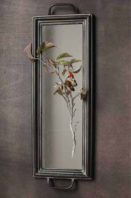Decorative 24in Long Metal Mirror with Handles