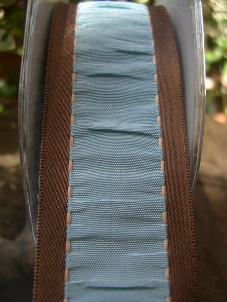 "French Blue & Brown Gathered Taffeta Wired Ribbon 1-1/2"" width 9 yards"