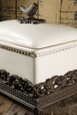French Country Ceramic Bread Box - Iron Base & Finch Handle