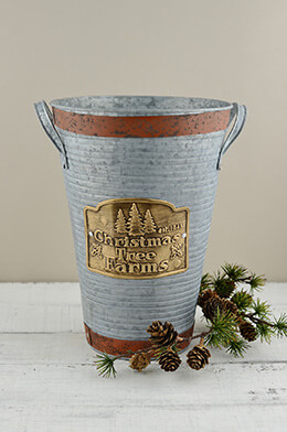 French Flower Bucket Christmas 11.5in