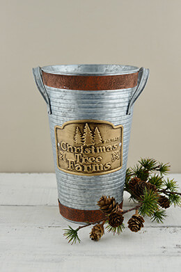 French Flower Bucket Christmas 10.25in