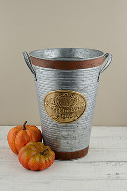 Pumpkin Patch Farms French Flower Bucket Pumpkin 11""