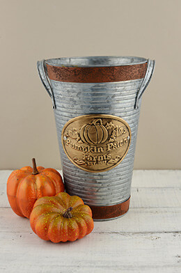 French Flower Bucket Pumpkin 10.25in