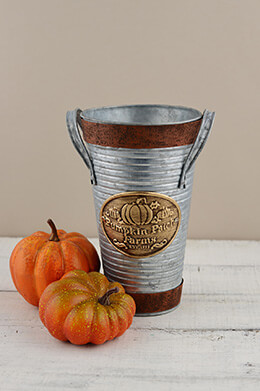 French Flower Bucket Pumpkin 8.5in
