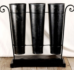 Flower Market Buckets Black with Stand (Set of 3)