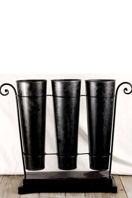 "Set of 3 Black 16"" Flower Market Buckets with Stand"