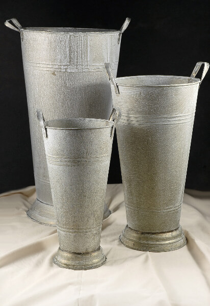Flower Market Buckets White Wash | Set of 3